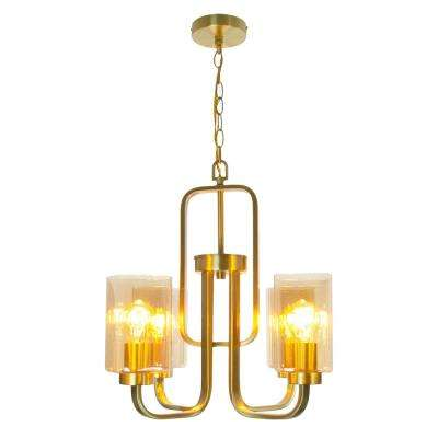 Firenze 4-Light Satin Gold Steel Shade with Amber Glass Pendant