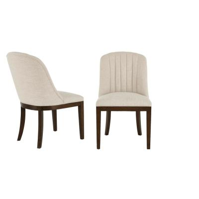 Ingram Upholstered Dining Chair with Channel Tufted Back and Biscuit Beige Seat (Set of 2) (26.77 in. W x 36.61 in. H)