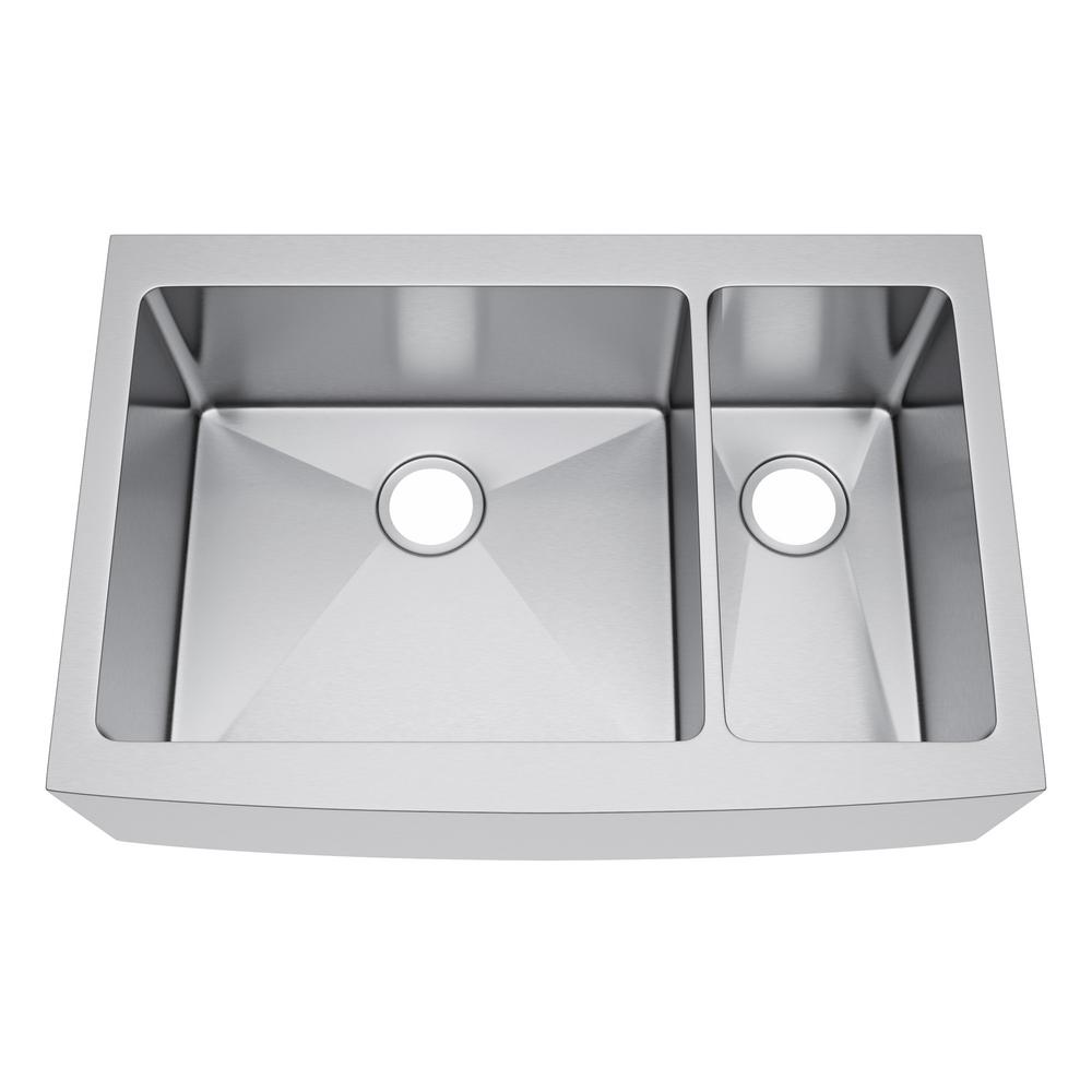 All In One Farmhouse Stainless Steel 36 70 30 Double Bowl