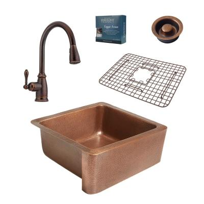 Monet All-in-One Farmhouse 25 in. Single Bowl Copper Kitchen Sink with Pfister Rustic Bronze Faucet and Disposal Drain