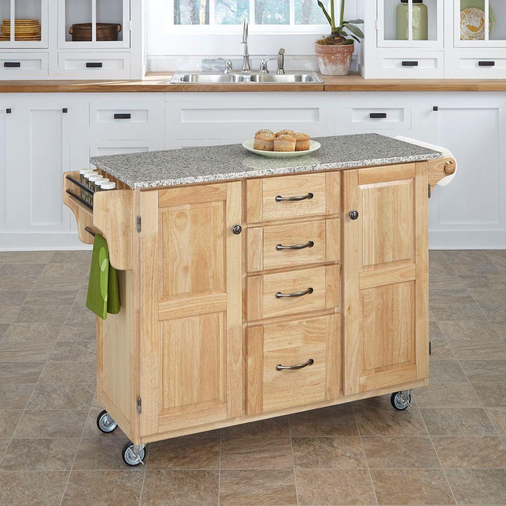 Natural Kitchen Cart With Salt & Pepper Granite Top