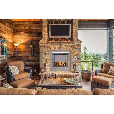 31.5 in. Stainless Vent-Free Outdoor Gas Fireplace Insert with Black Fire Glass Media