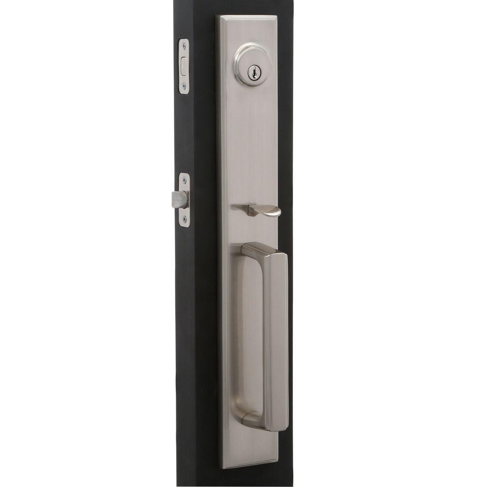 Weslock Elegance Single-Cylinder Satin Nickel Woodward II Door Handleset with Utica Lever