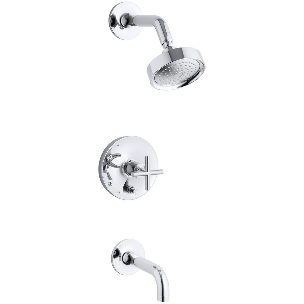 Kohler Purist 1 Handle Single Spray Tub And Shower Faucet Trim In Polished Chrome