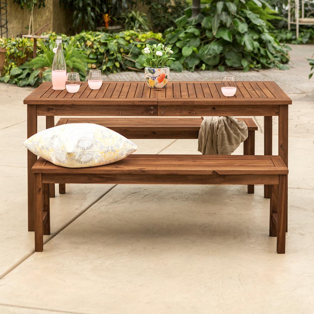 Dark Brown 3-Piece Wood Patio Dining Set