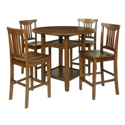 Oakland 5-Piece Set Table Chairs in Toffee with Wood Stain