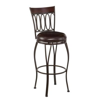 Wilmer 30 in. Dark Champagne Swivel Cushioned Bar Stool