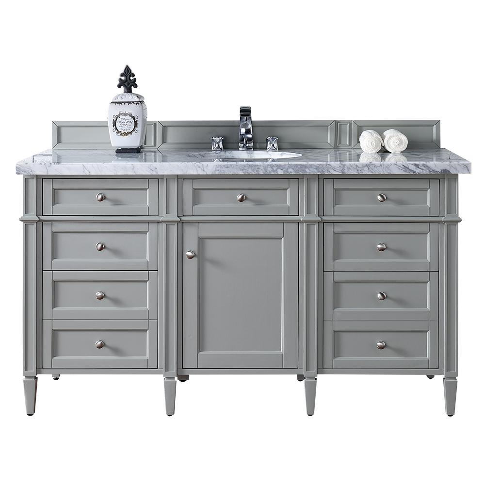 James Martin Signature Vanities Brittany 60 in. W Single Vanity in Urban Gray with Marble Vanity Top in Carrara White with White Basin