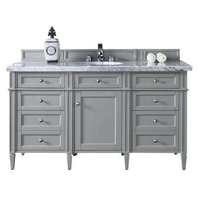 Brittany 60 in. W Single Vanity in Urban Gray with Marble Vanity Top in Carrara White with White Basin
