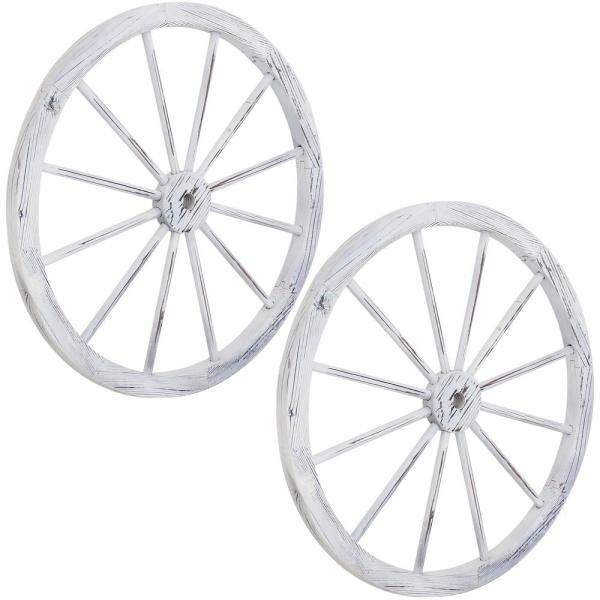 Wooden Wagon Wheel Wall Decor from images.homedepot-static.com