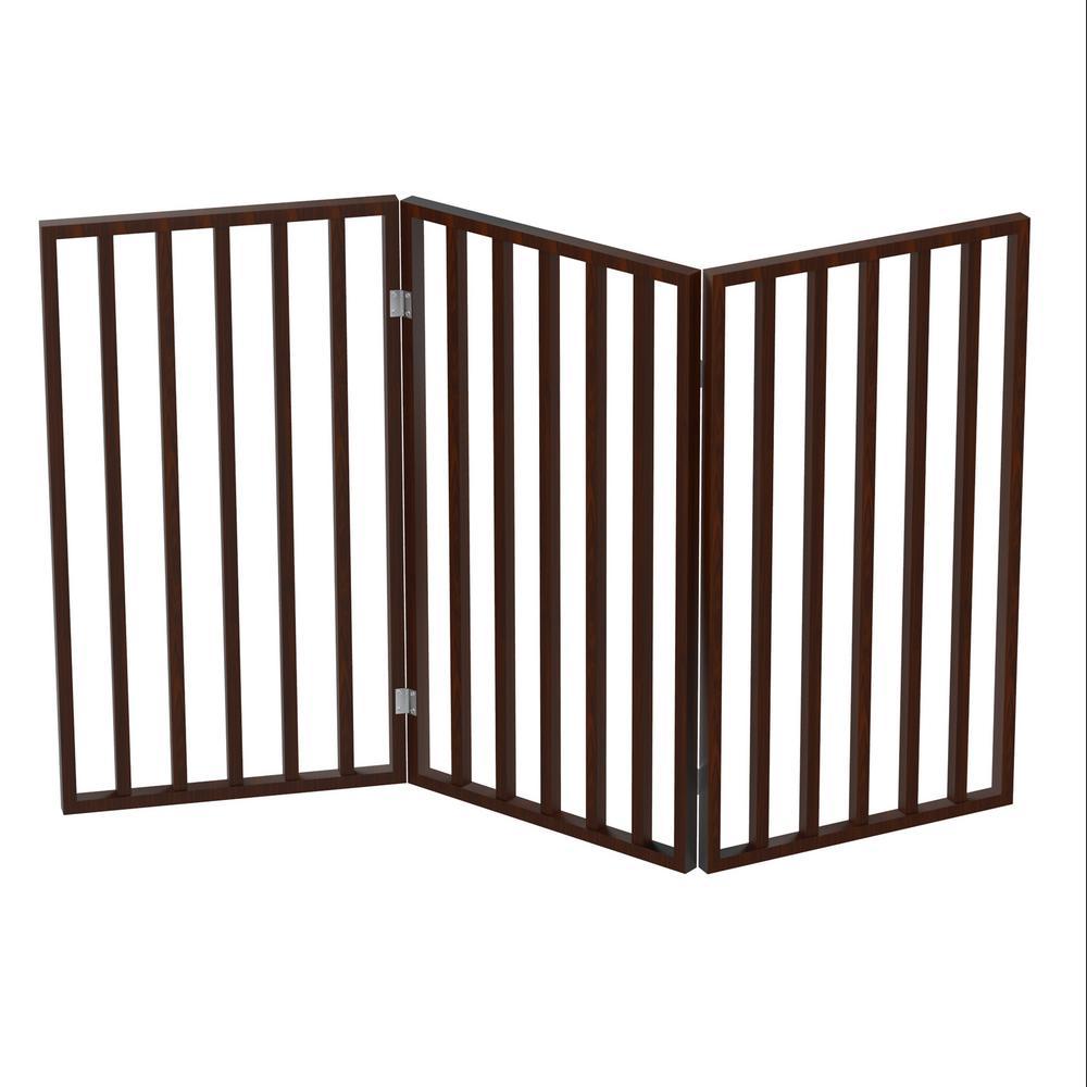 54 in. x 32 in. Wooden Freestanding Brown Pet Gate