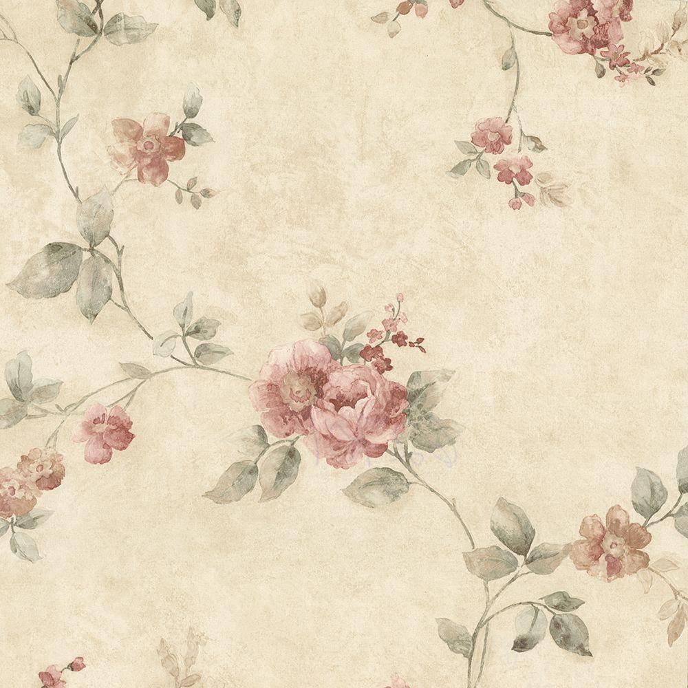Mary Salmon Floral Vine Wallpaper Sample