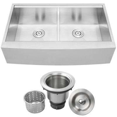 Bryce Zero Radius Farmhouse Apron Front 16-Gauge Stainless Steel 36 in. Double Basin Kitchen Sink with Basket Strainer