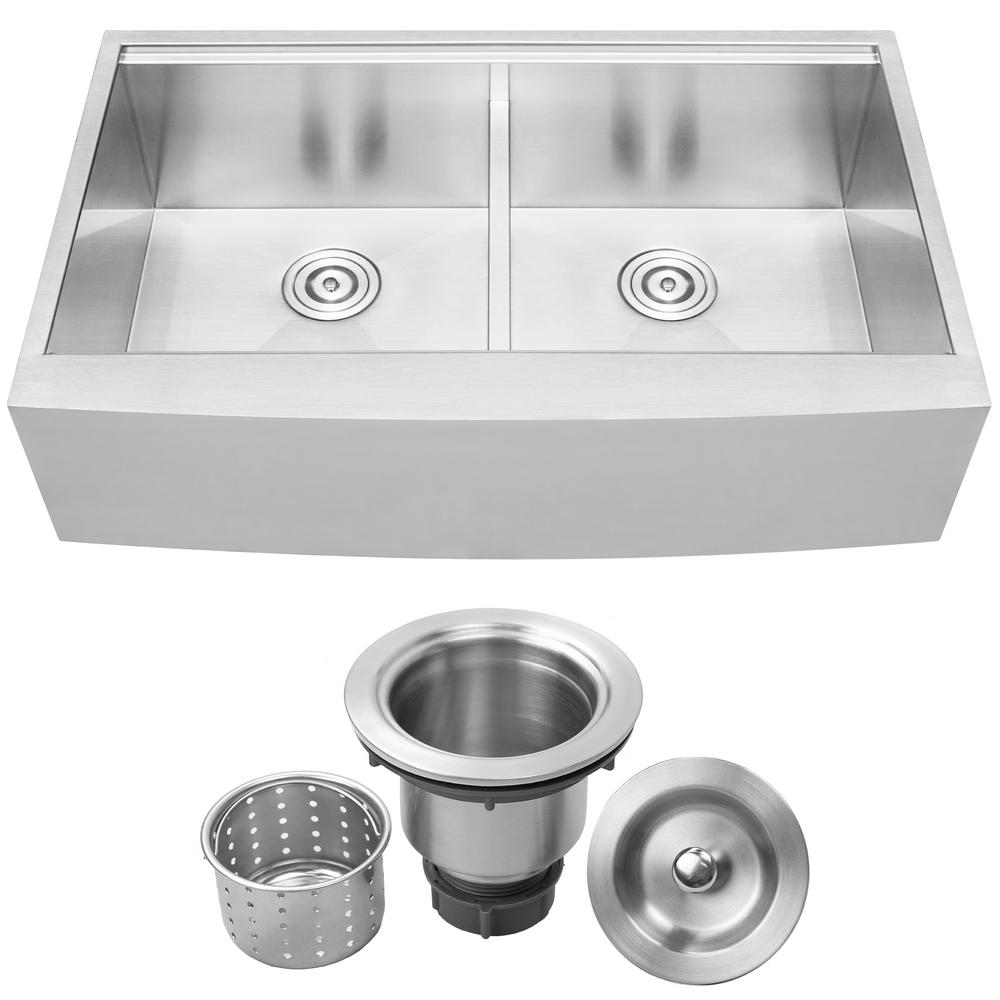 Ticor Bryce Zero Radius Farmhouse Apron Front 16-Gauge Stainless Steel 36 in. Double Basin Kitchen Sink with Basket Strainer