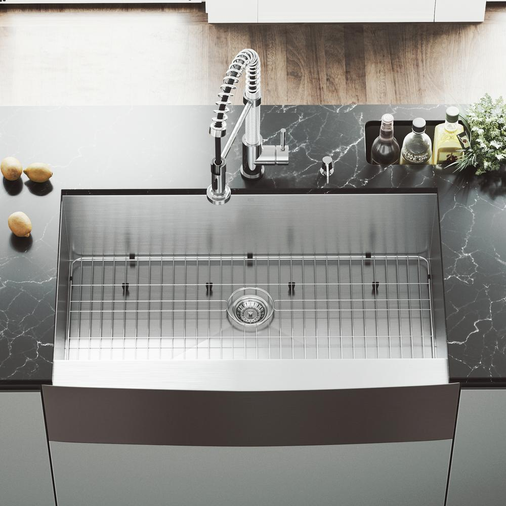 Camden Stainless Steel Single Bowl Farmhouse Kitchen Sink With Pull Down Faucet In Chrome