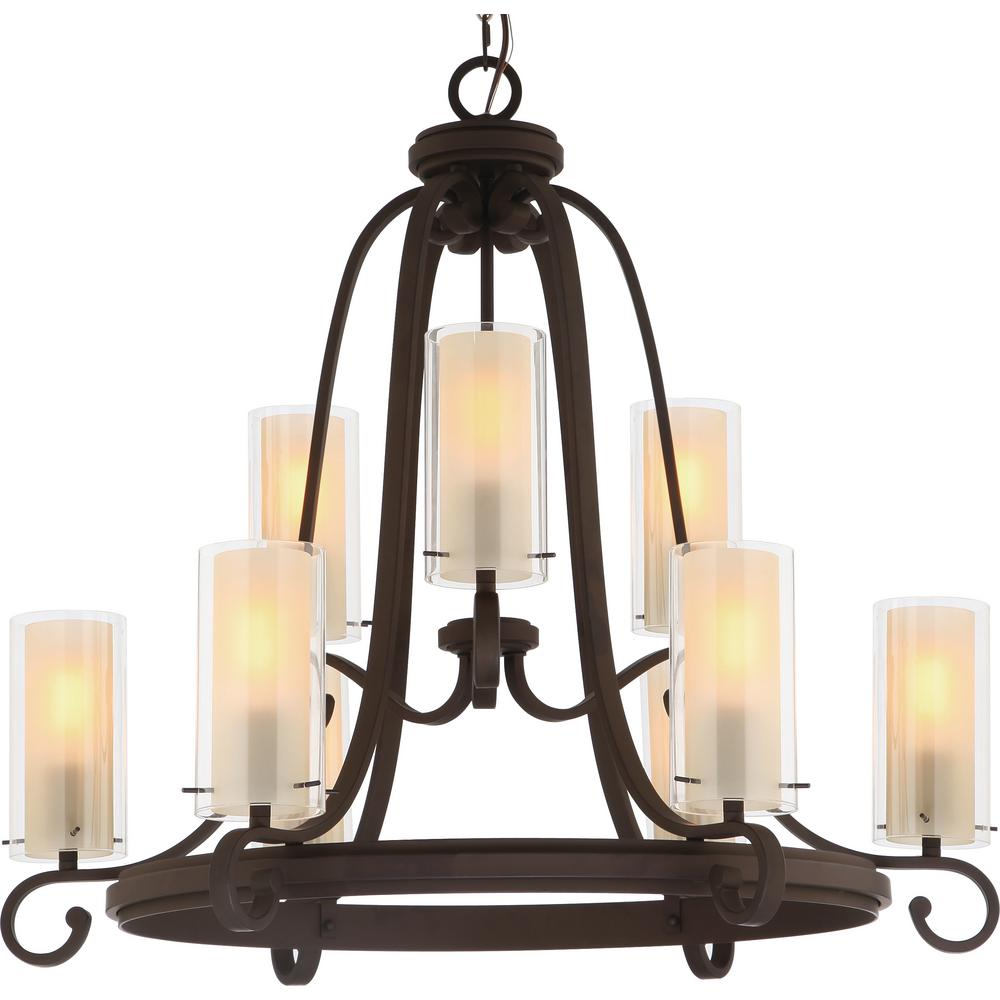 Volume Lighting Regina 9-Light Antique Bronze Indoor Hanging Chandelier with Clear Glass (Outer) and Amber Glass Cylinder (Inner) Shades