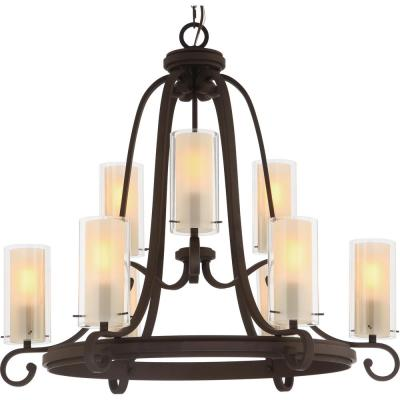 Regina 9-Light Antique Bronze Indoor Hanging Chandelier with Clear Glass (Outer) and Amber Glass Cylinder (Inner) Shades