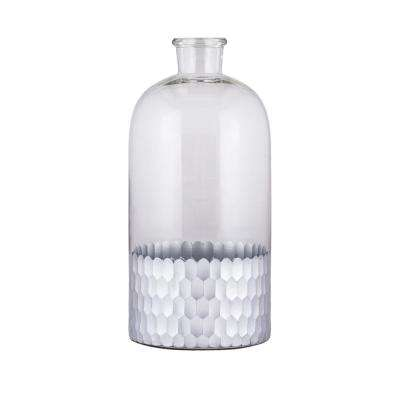 Cut Scale 6 in. x 13 in. Glass Decorative Jug in Clear and Silver