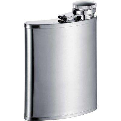 Bass Wide Mouth Silver Satin Stainless Steel 7 oz. Hip Flask