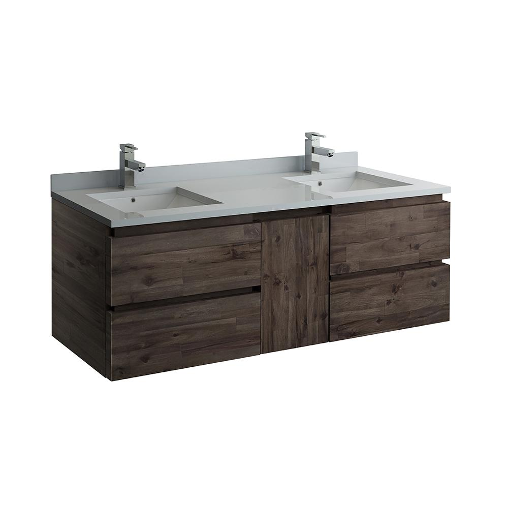 . Fresca Formosa 60 in  Modern Double Wall Hung Vanity in Warm Gray with  Quartz Stone Vanity Top in White with White Basins