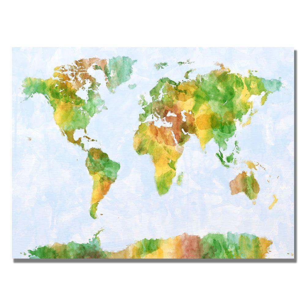 Trademark Fine Art 18 in. x 24 in. Watercolor World Map III Canvas Art