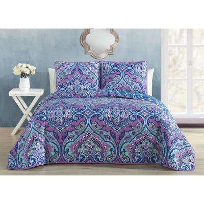 Cantara 3-Piece Purple Queen Quilt Set
