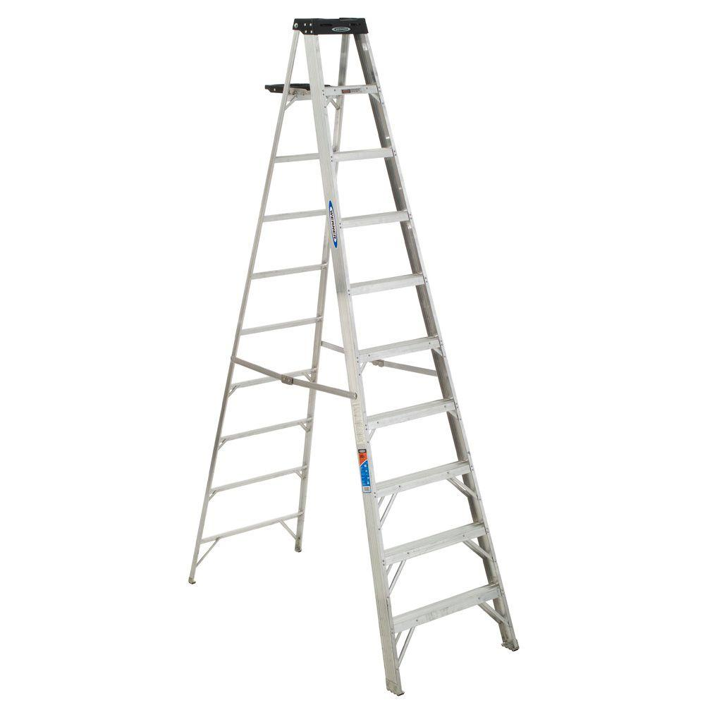 Werner 10 Ft Aluminum Step Ladder With 300 Lbs Load Capacity Type Ia Duty Rating 310 The Home Depot