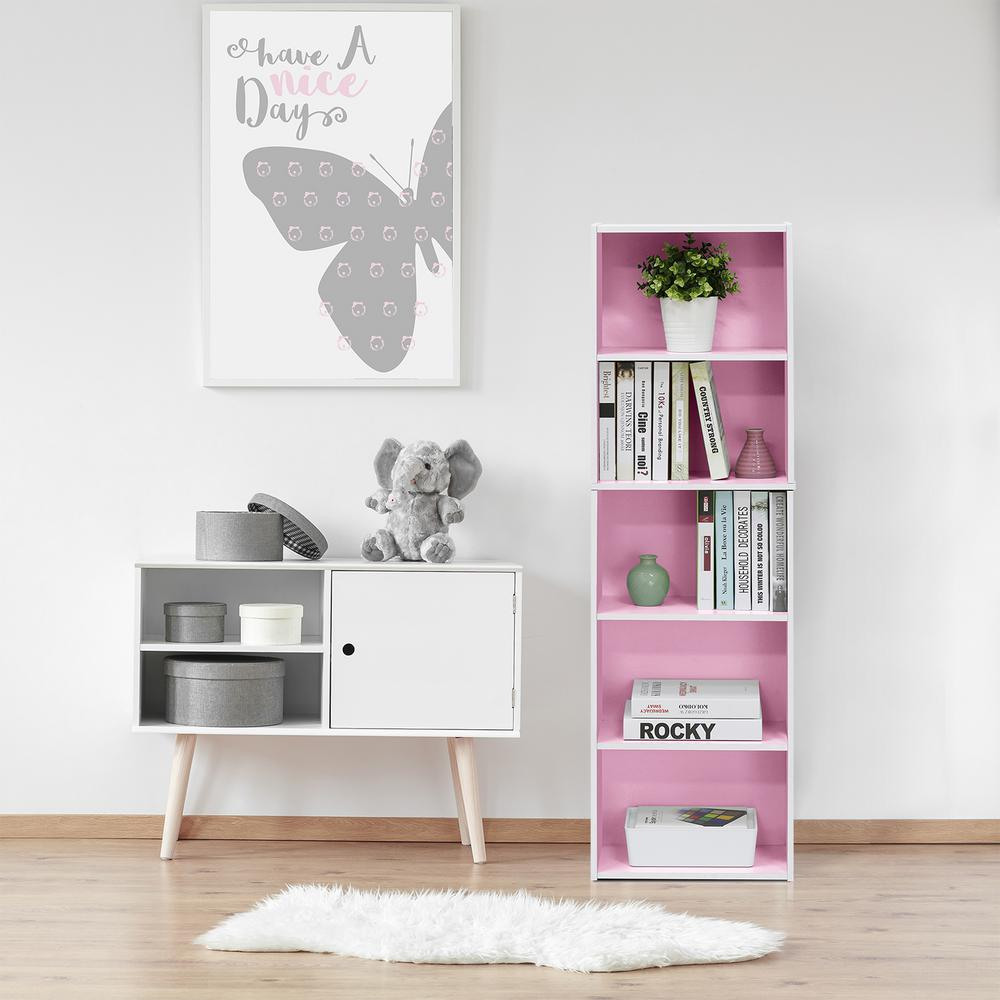 White and Pink 5-Tier Reversible Color Open Shelf Bookcase