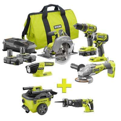 18-Volt ONE+ Lithium-Ion Cordless Brushless 5-Tool Combo Kit w/ Bonus Reciprocating Saw and 6 Gal. Wet/Dry Vacuum