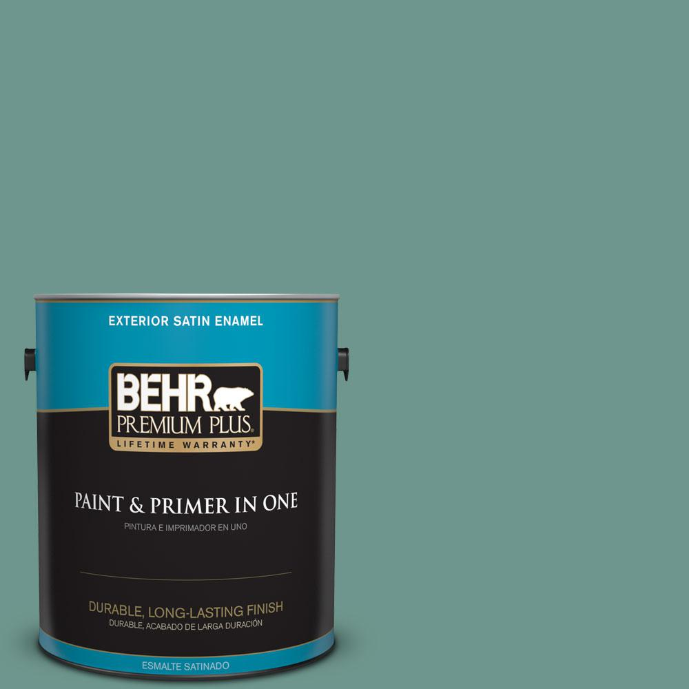 BEHR Premium Plus 1-gal. #M440-5 Lunar Tide Satin Enamel Exterior Paint