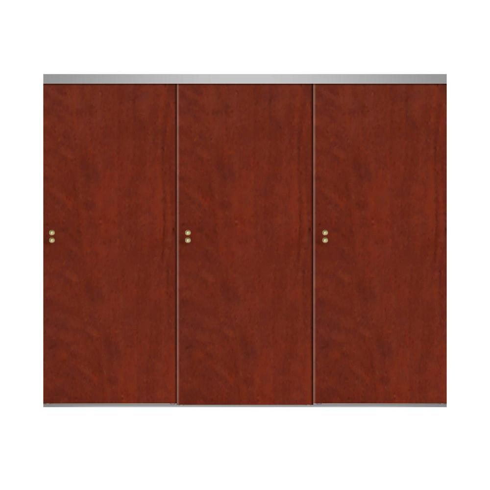 Impact plus 108 in x 80 in smooth flush cherry solid for Sliding glass doors 108 x 80