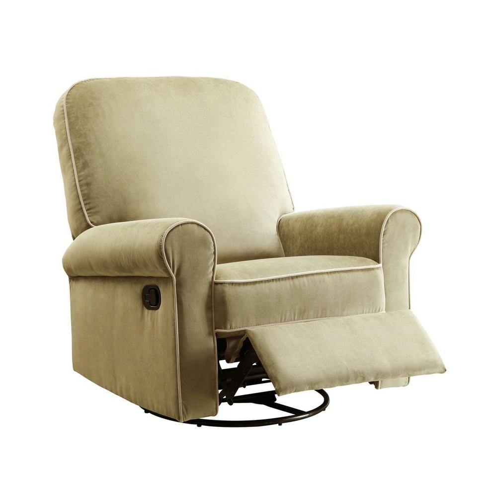 PRI Ashewick Crave Fern Light Green Fabric with Pearl Tan Piping Swivel Glider Recliner Comfort Chair-DISCONTINUED