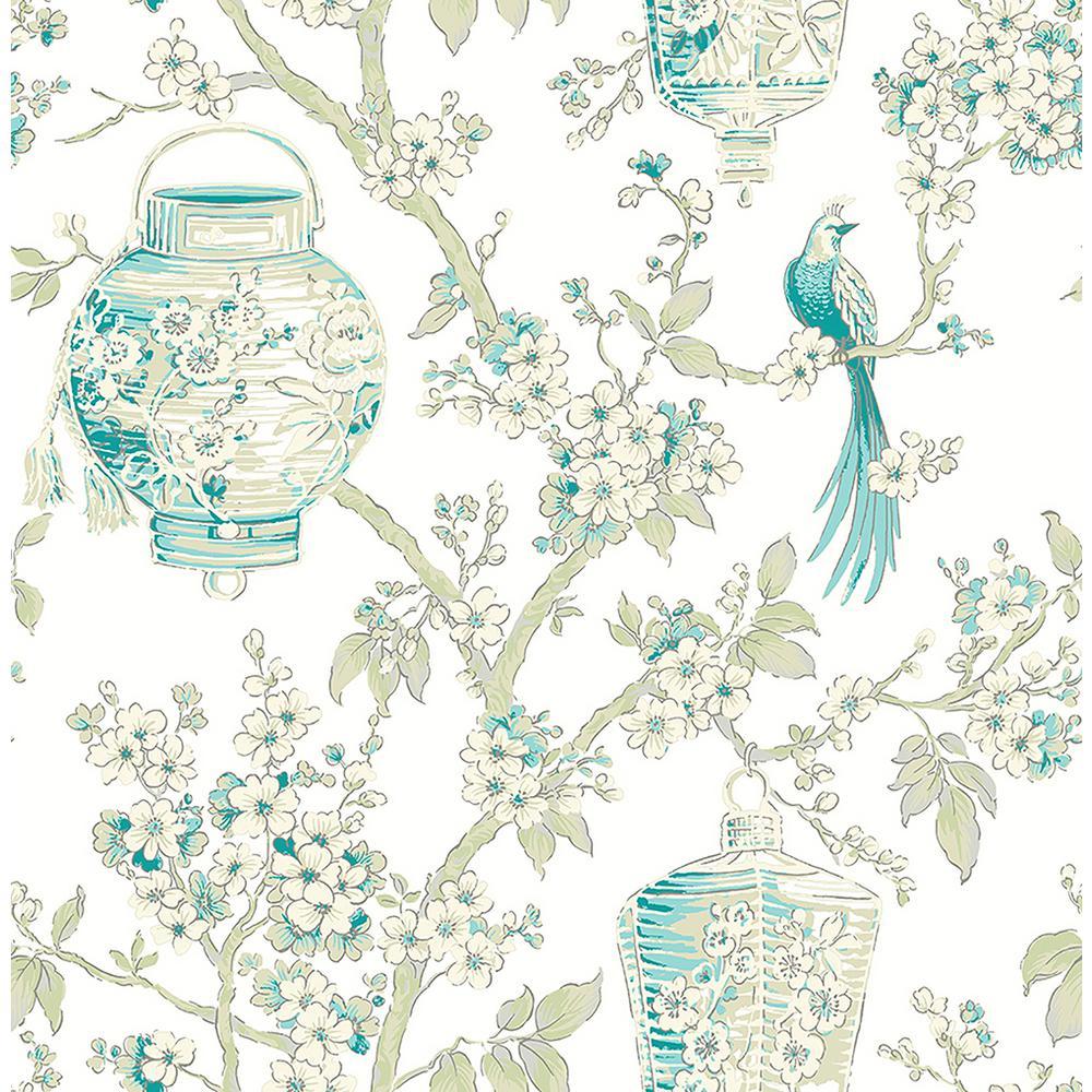 Serenity Teal Lanterns Wallpaper