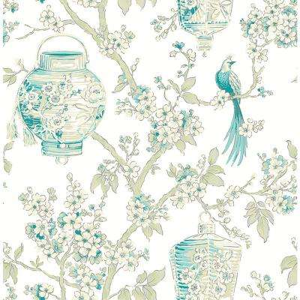 Serenity Teal Lanterns Wallpaper Sample