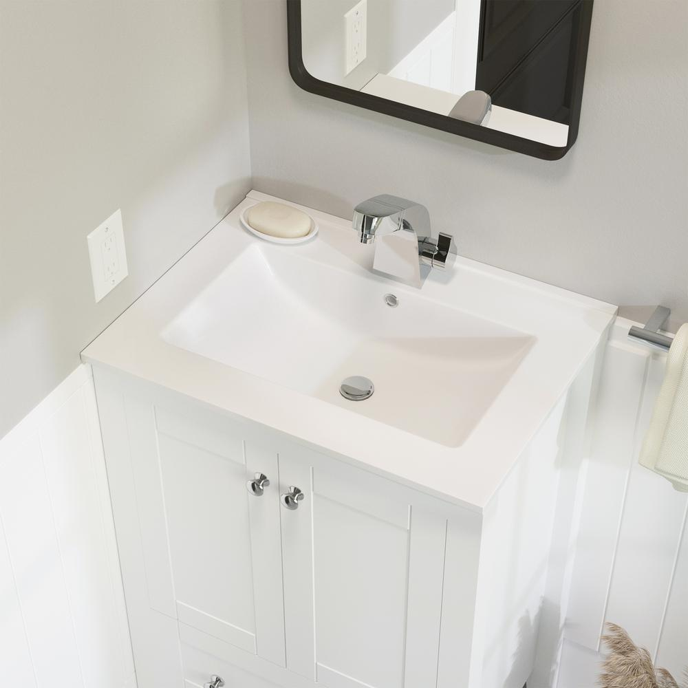 Swiss Madison 24 In Ceramic Single Faucet Hole Vanity Top In White With White Basin Sm Vt324 The Home Depot