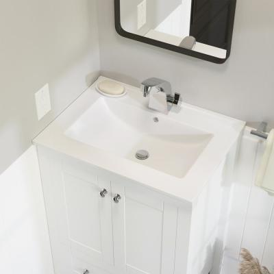 24 in. Ceramic Single Faucet Hole Vanity Top in White with White Basin