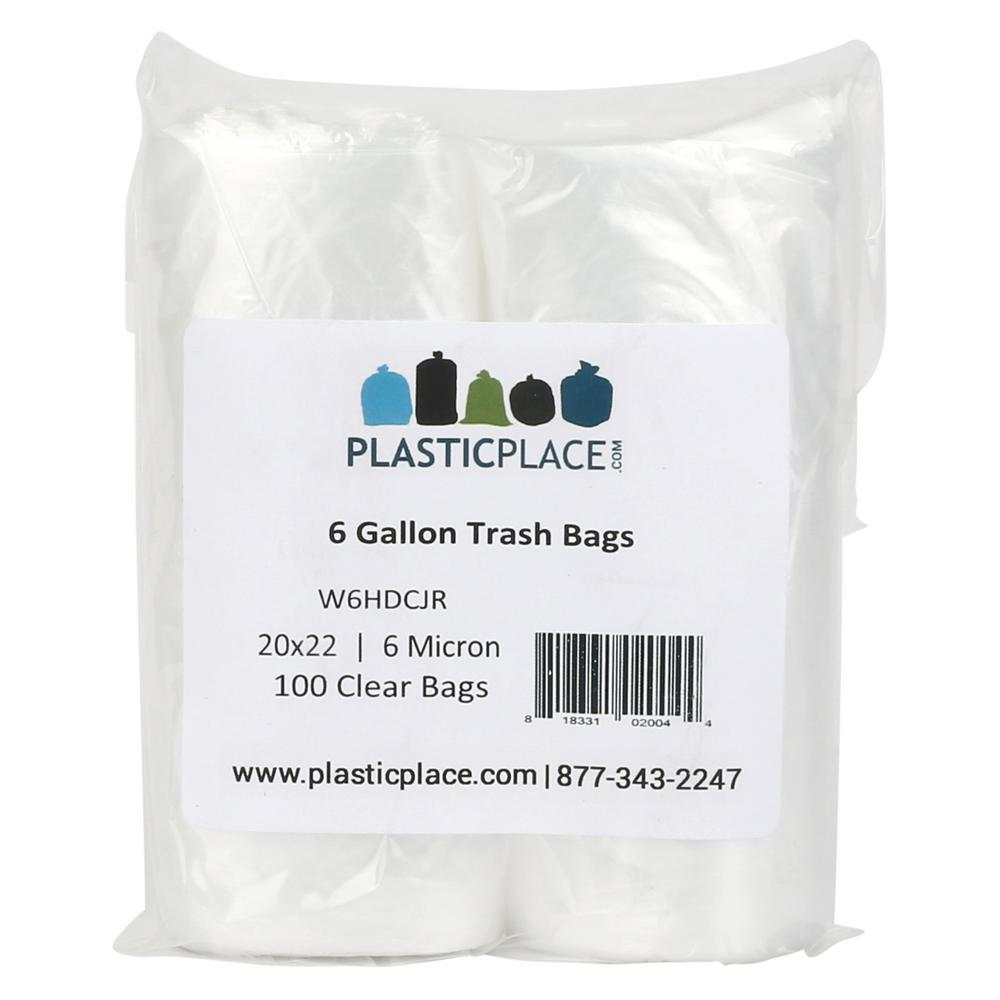 Plasticplace 6 Gal Clear Trash Bags Pack Of 100