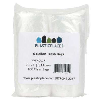 6 Gal. Clear Trash Bags (Pack of 100)