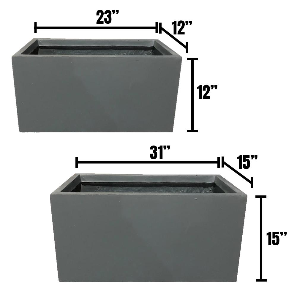DurX-litecrete Lightweight Concrete Modern Long Low Granite Planter (Set of 2)