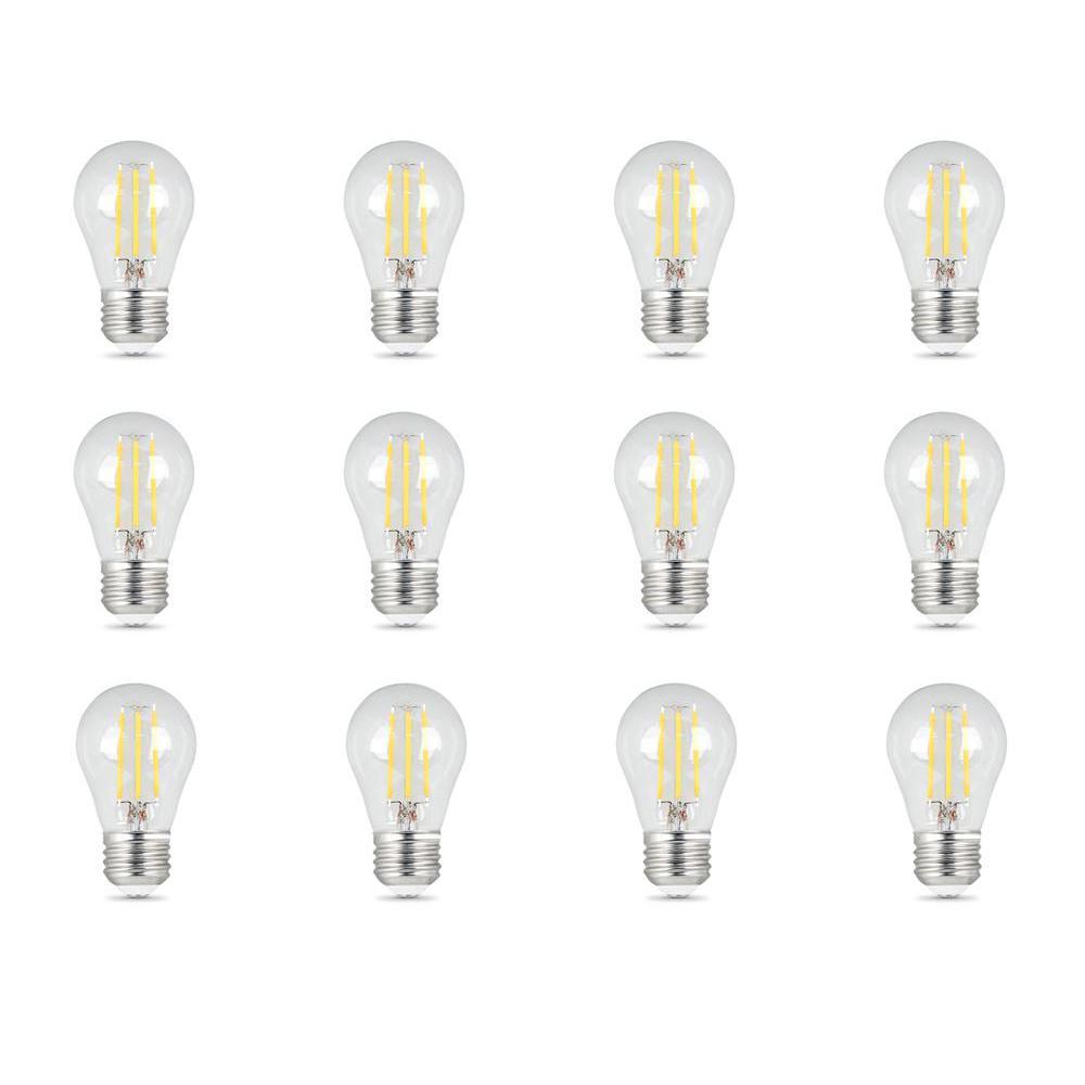 60-Watt Equivalent (5000K) A15 Dimmable Filament Clear Glass LED Ceiling Fan Light Bulb, Daylight (12-Pack)