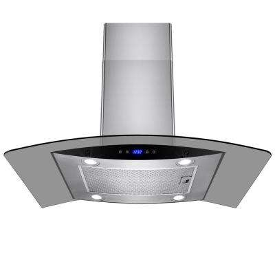 36 in. Convertible Kitchen Island Mount Range Hood in Stainless Steel with Tempered Glass and Dual Touch Controls