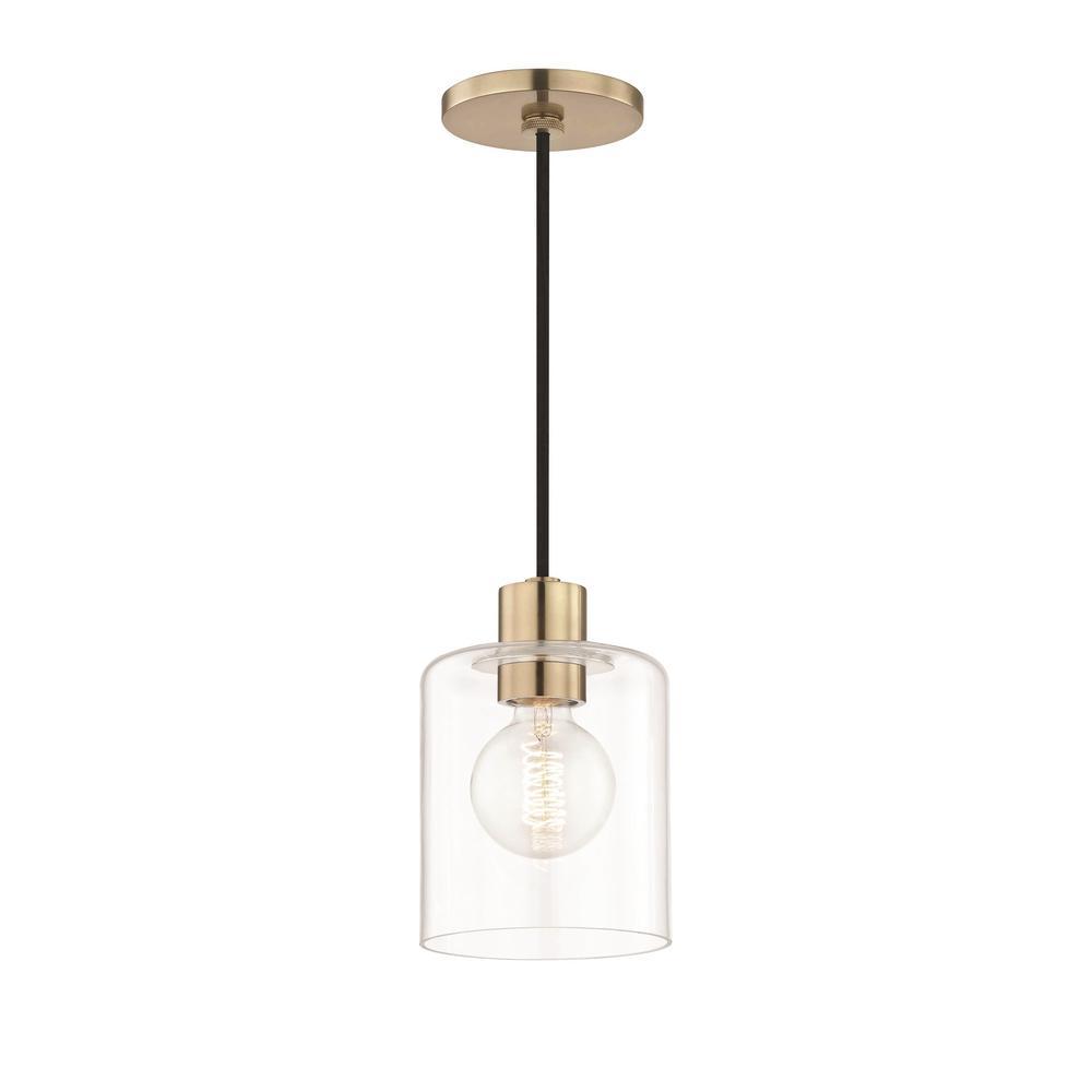 mitzi by hudson valley lighting neko 1 light aged brass pendant with