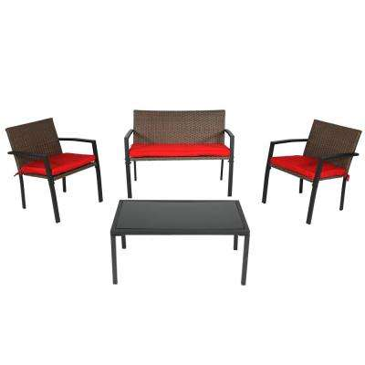 Kula Brown 4-Piece Metal Patio Conversation Set with Red Cushions