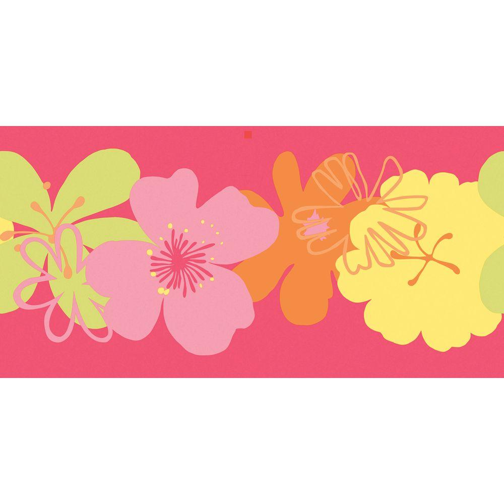 The Wallpaper Company 8 in. x 10 in. Brightly Colored Poppin' Poppies Border Sample