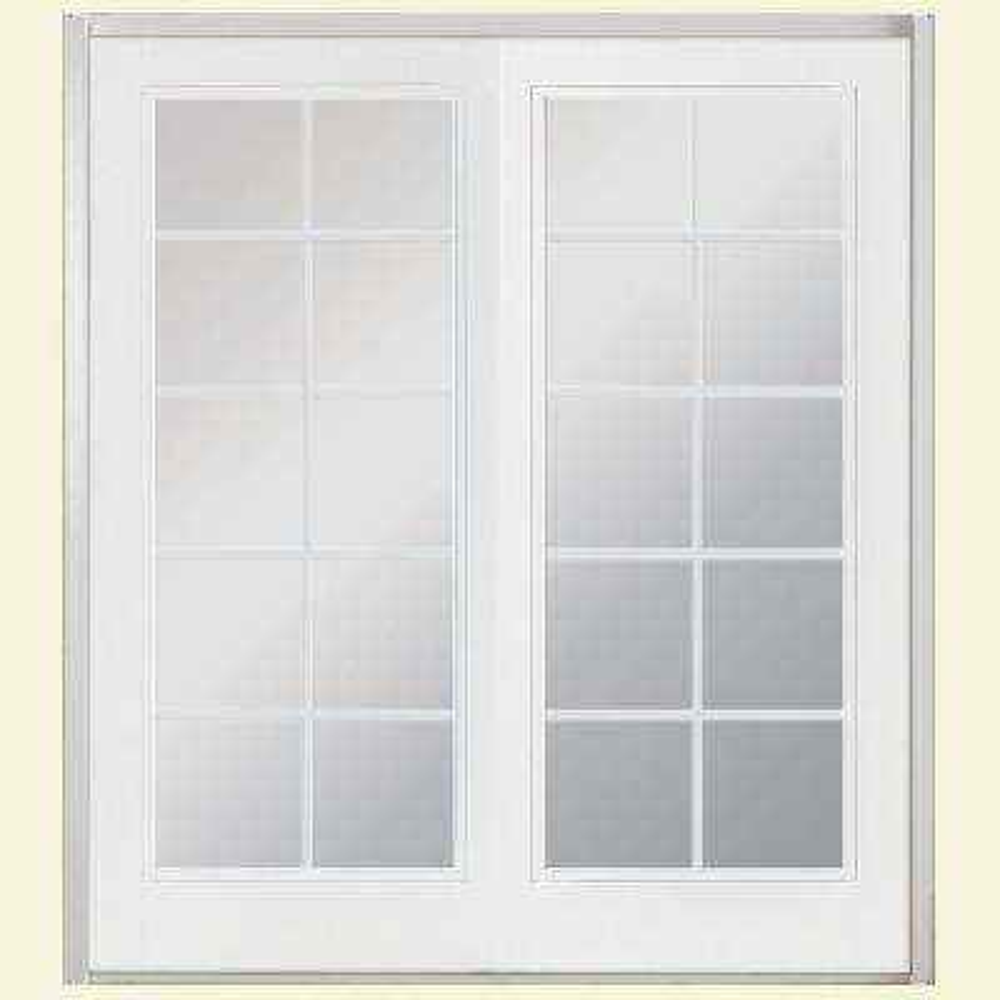 72 in. x 80 in. Primed Prehung Left-Hand Inswing 10 Lite Fiberglass Patio Door with No Brickmold in Vinyl Frame
