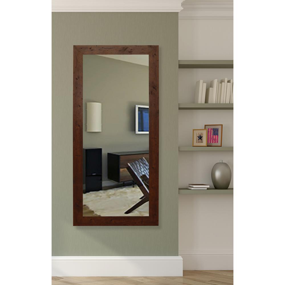 65.5 in. x 30.5 in. Rustic Dark Walnut Beveled Vanity Wall Mirror