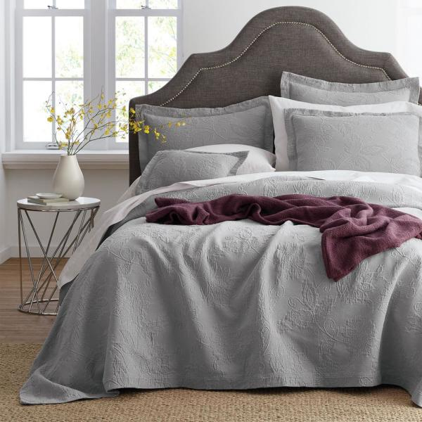 The Company Store Putnam Matelasse Sterling Gray Cotton Queen Coverlet