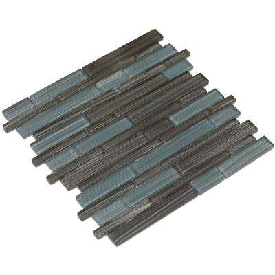Mahi/01, Brown and Gray, Interlocking, 3 in. x 12 in. x 8 mm Glass Mesh-Mounted Mosaic Tile Sample