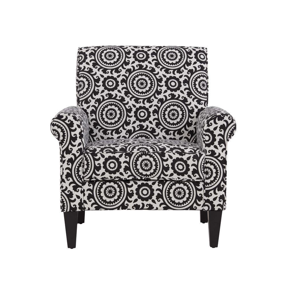 Handy Living Jean Black and Cream Medallion Arm Chair B340C-PSU19-100