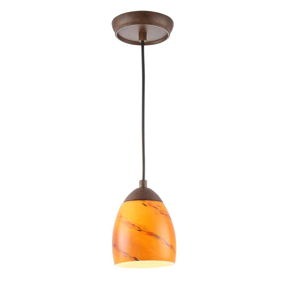 Hampton Bay Rhodes 1-Light Nutmeg Mini Pendant